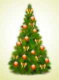 Árbol de navidad con las bolas y los arqueamientos Foto de archivo