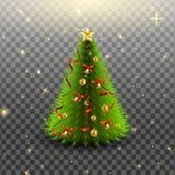 Árbol de navidad con las campanas, bolas de oro, arco rojo y cintas, aislados en fondo transparente Ilustración del vector Foto de archivo libre de regalías