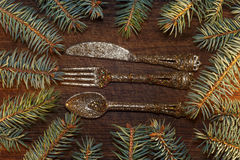 Árbol de navidad con las decoraciones de la Navidad Fotos de archivo