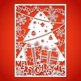 Árbol de navidad con las decoraciones Plantilla de corte del laser stock de ilustración