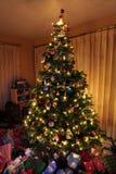 Árbol de navidad con las luces Foto de archivo libre de regalías