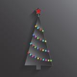 Árbol de navidad con las luces coloridas Tarjeta de Navidad y del Año Nuevo Fotografía de archivo