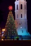 Árbol de navidad con las luces en Vilnius Lituania Imágenes de archivo libres de regalías