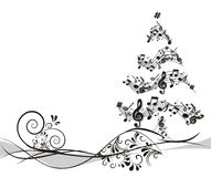 Árbol de navidad con las notas stock de ilustración