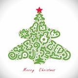 Árbol de navidad con las serpientes ilustración del vector