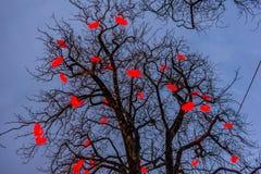 Árbol de navidad con los corazones leídos contra el cielo azul en Tivoli Garde Imagen de archivo