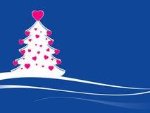 Árbol de navidad con los corazones rosados Imágenes de archivo libres de regalías
