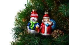 Árbol de navidad con los juguetes del vintage Foto de archivo libre de regalías