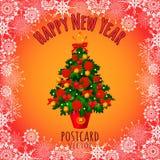 Árbol de navidad con los juguetes, las campanas y las manzanas libre illustration