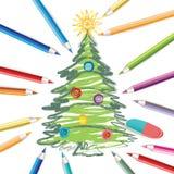 Árbol de navidad con los lápices coloreados Foto de archivo libre de regalías