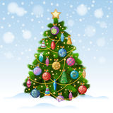 Árbol de navidad con los ornamentos coloridos, ejemplo del vector Foto de archivo libre de regalías