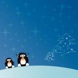 Árbol de navidad con los pingüinos Foto de archivo