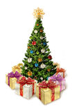 Árbol de navidad con los presentes Imagenes de archivo