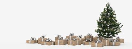 Árbol de navidad con los presentes aislados en blanco representación 3d Fotografía de archivo libre de regalías