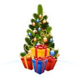 Árbol de navidad con los rectángulos de regalo Imágenes de archivo libres de regalías