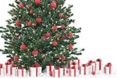 Árbol de navidad con los rectángulos de regalo Imagen de archivo