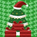 Árbol de navidad con los regalos stock de ilustración