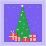 Árbol de navidad con los regalos Fotos de archivo