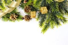 Árbol de navidad con los regalos en un fondo blanco Foto de archivo libre de regalías