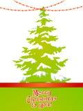 Árbol de navidad con nieve y luces Fotografía de archivo libre de regalías