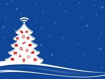 Árbol de navidad con símbolos del web Foto de archivo libre de regalías