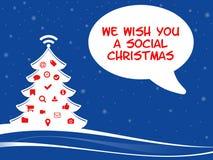 Árbol de navidad con símbolos del web y tebeos que saludan Imagen de archivo
