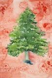 Árbol de navidad con un fondo rojo manchado Fotos de archivo
