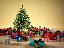 Árbol de navidad con varios regalos ilustración del vector
