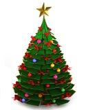 árbol de navidad 3d en un fondo blanco Foto de archivo libre de regalías