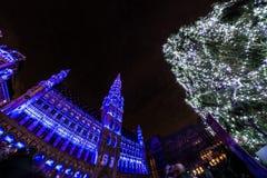 Árbol de navidad de Bruselas Imágenes de archivo libres de regalías