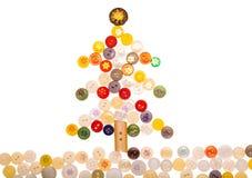 Árbol de navidad de diversos botones coloreados y adornado con libre illustration