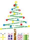 Árbol de navidad de Grunge ilustración del vector