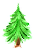 Árbol de navidad de la acuarela Imágenes de archivo libres de regalías