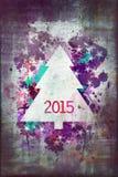 Árbol de navidad 2015 de la acuarela Imagenes de archivo
