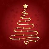 Árbol de navidad de la cinta del oro Fotografía de archivo
