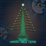 Árbol de navidad de la Feliz Año Nuevo de Techno Fotos de archivo