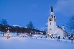 Árbol de navidad de la iglesia de Duved Imagen de archivo