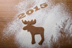 Árbol de navidad 2015 de la inscripción y forma de alces Foto de archivo libre de regalías