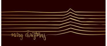 Árbol de navidad de la línea Feliz Navidad Fotografía de archivo