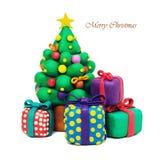 Árbol de navidad de la plastilina Fotos de archivo