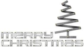 Árbol de navidad de la regla de plegamiento del metal de la Feliz Navidad stock de ilustración