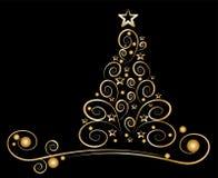 Árbol de navidad de la tarjeta, ornamentos de oro Fotografía de archivo