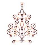 Árbol de navidad de la tarjeta, ornamentos rojos Imágenes de archivo libres de regalías