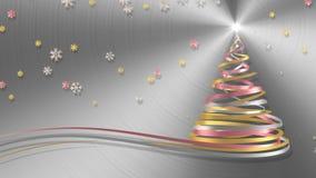 Árbol de navidad de las cintas blancas, rosadas y amarillas con los copos de nieve en fondo del metal stock de ilustración