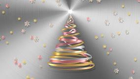 Árbol de navidad de las cintas blancas, rosadas y amarillas con los copos de nieve sobre fondo del metal ilustración del vector