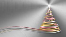 Árbol de navidad de las cintas blancas, rosadas y amarillas en fondo del metal stock de ilustración