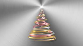 Árbol de navidad de las cintas blancas, rosadas y amarillas sobre fondo del metal libre illustration