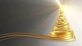 Árbol de navidad de las cintas del oro sobre fondo del metal ilustración del vector