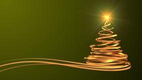 Árbol de navidad de las cintas del oro sobre fondo verde