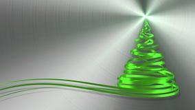Árbol de navidad de las cintas del verde sobre fondo del metal ilustración del vector